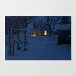 Snowy House at Dusk Canvas Print