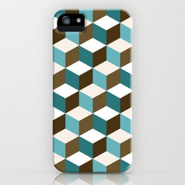 Cubes Pattern Teals Browns Cream White iPhone Case