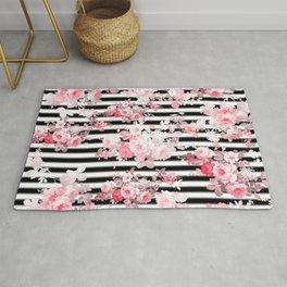 Vintage blush pink floral black white stripes Rug