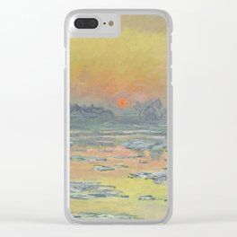 """Claude Monet """"Sunset on the Seine in Winter"""" Clear iPhone Case"""
