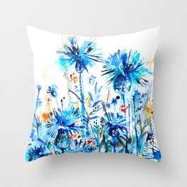thickets of cornflowers Throw Pillow