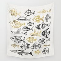 black and gold Wall Tapestries featuring Inked Fish – Black & Gold by Cat Coquillette