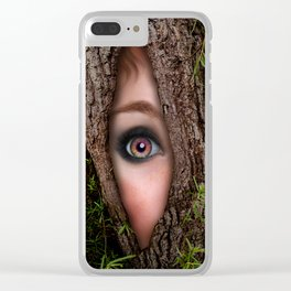 Beautiful Face trapped in a tree trunk Clear iPhone Case