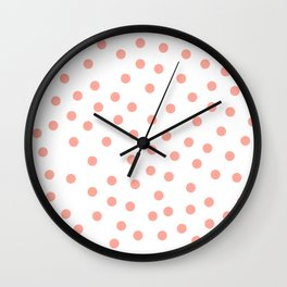 Simply Dots in Salmon Pink on White Wall Clock