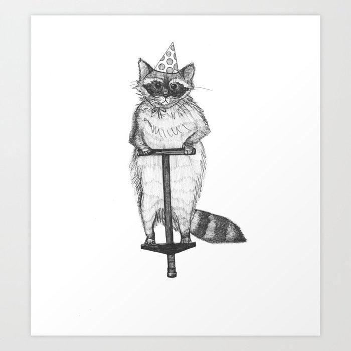 party raccoon on a pogo stick Art Print