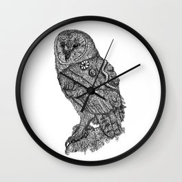 Owl Zentangle Artwork by Emily Hunter-Higgins Wall Clock