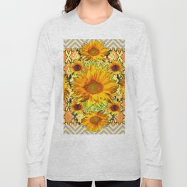 Western Style Lilac Color Golden Sunflowers Gold Pattern Art Long Sleeve T-shirt