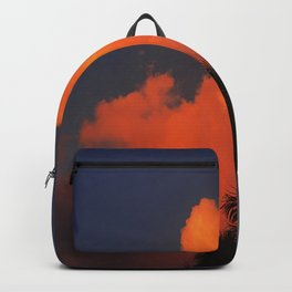 Vibrant Orange Sunset Clouds In Blue Sky  Backpack