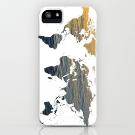 World Map - Sea Texture iPhone Case