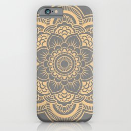 Mandala Flower Gray & Peach iPhone Case