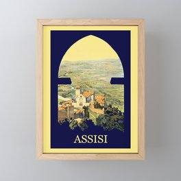 Vintage Litho Travel ad Assisi Italy Framed Mini Art Print