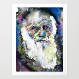 CHARLES DARWIN watercolor portrait.7 Art Print