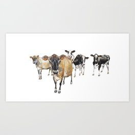 Cow Crowd Art Print