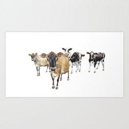 Cow Crowd Art Print