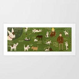 dog's adventures . an ultimate map Art Print