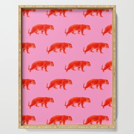 Vintage Cheetahs in Coral + Red Serving Tray