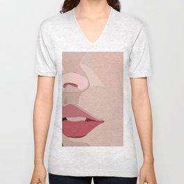 up close lips Unisex V-Neck