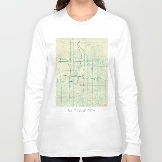 Salt Lake City Map Blue Vintage Long Sleeve T-shirt