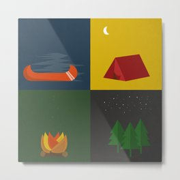 Camping Series: Canoe, Tent, Fire, Trees Metal Print