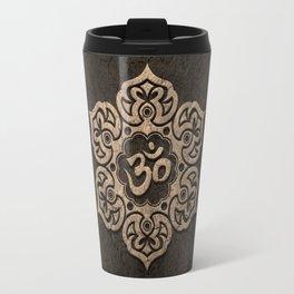 Aged Stone Lotus Flower Yoga Om Travel Mug