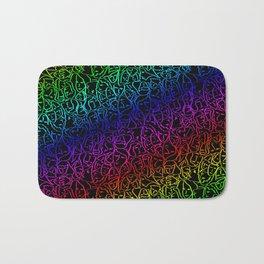 Elio's Shirt Faces Holographic Neon Rainbow Bath Mat
