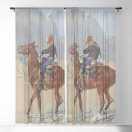 "Frederic Remington Western Art ""The Advance Guard"" Sheer Curtain"