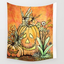 Spunky Pumpkin Fairies Wall Tapestry