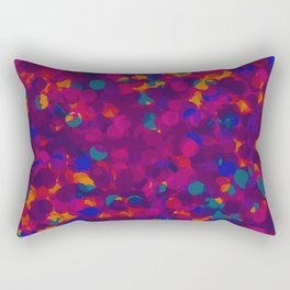 painting circle shape in purple blue green and orange background Rectangular Pillow