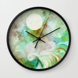 Wicked Wave in Aqua Wall Clock