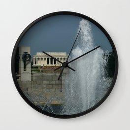 Memorial Fountain  And Lincoln Memorial Wall Clock