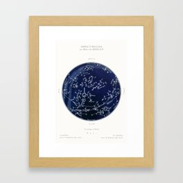 French July Star Maps in Deep Navy & Black, Astronomy, Constellation, Celestial Framed Art Print
