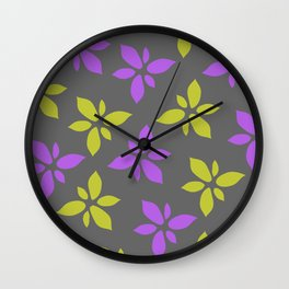 Illustration of flowers(grey background) Wall Clock