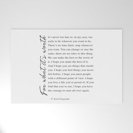 F. Scott Fitzgerald - For What It's Worth Quote  Welcome Mat