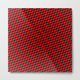 Sharkstooth Sharks Pattern Repeat in Black and Red Metal Print