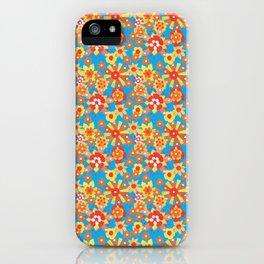 Ditsy Orange Flowers on Blue iPhone Case