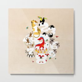 One Two Three Animals in the Kids Room – Illustration for boys and girls Metal Print