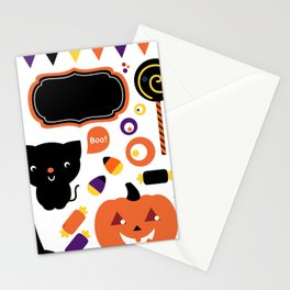 Halloween party set isolated on white Stationery Cards