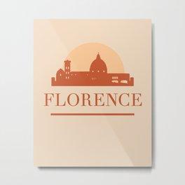 FLORENCE ITALY CITY SKYLINE EARTH TONES Metal Print