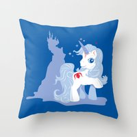 the last unicorn Throw Pillows featuring My Little Last Unicorn by Ashley Hay