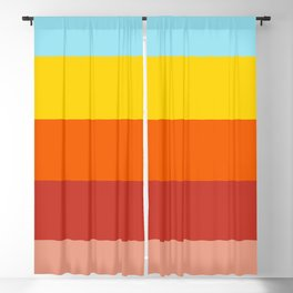 Retro Colors Summer Stripes Vibe Blackout Curtain