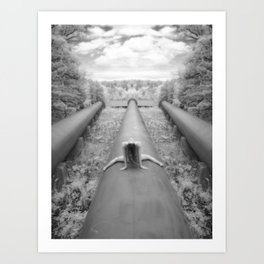 0925-LP Industrial Nature Nude Woman Straddling Massive Hydro Pipe Art Print