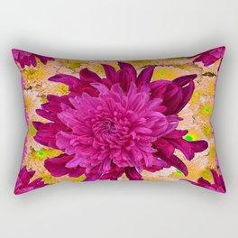 Stylized  Burgundy Purple & Yellow Chrysanthemums Floral Garden Rectangular Pillow