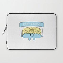 Blue Happy Birthday Doughnut Laptop Sleeve