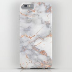 Grey Marble Rosegold  Pink Metallic Foil Style iPhone 6 Plus Slim Case
