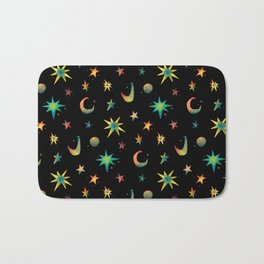 Colorful Watercolor Stars and Moons Pattern Bath Mat