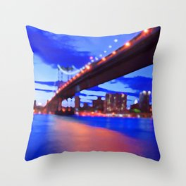 New York City Skyline Bridge Throw Pillow