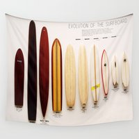 surfboard Wall Tapestries featuring Surfboard Evolution by John Lyman Photos