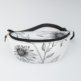 Wildflowers Ink Drawing Fanny Pack