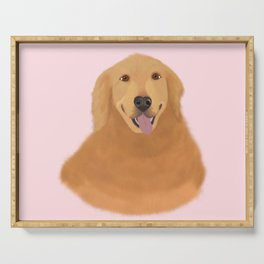 Smiling Golden Retriever Serving Tray