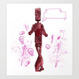 Awkward Robot Art Print